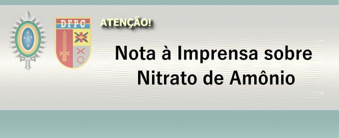 Nota à Imprensa sobre Nitrato de Amônio