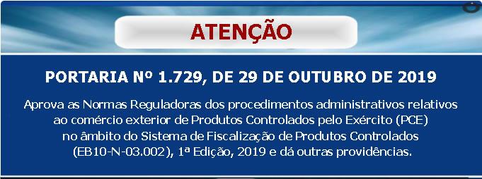 PORTARIA Nº 1.729, DE 29 DE OUTUBRO DE 2019