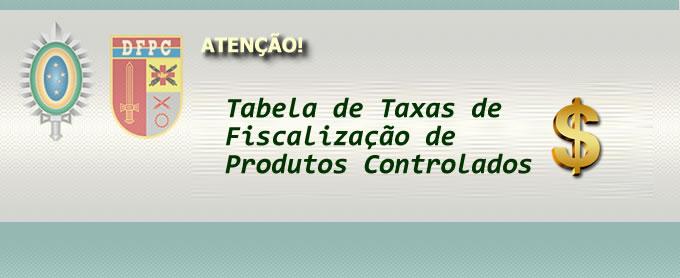 Tabela de taxas de Fiscalização de Produtos Controlados